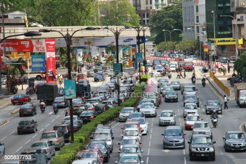 istock Cars &Traffic Jam & Front view of a Two-line Street 505837753