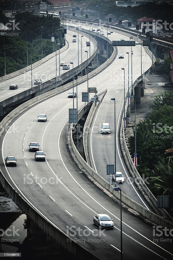 Cars Traffic on Elevated Highway royalty-free stock photo