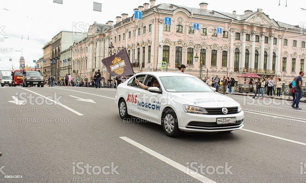 Cars traveling on the Nevsky Prospect. royalty-free stock photo