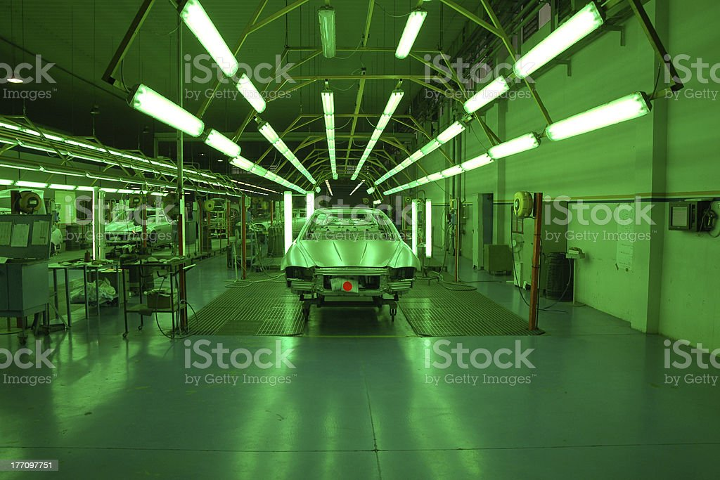 Cars under green light stock photo