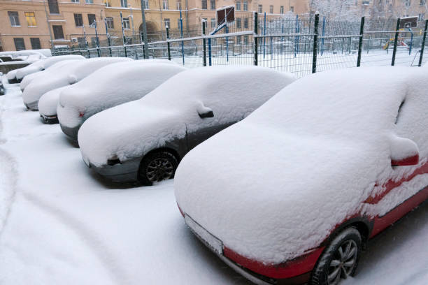 cars under snow in the city courtyard