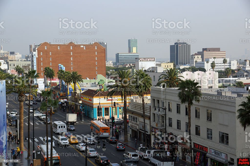 Cars, vans, and Buses move along a busy Hollywood stock photo