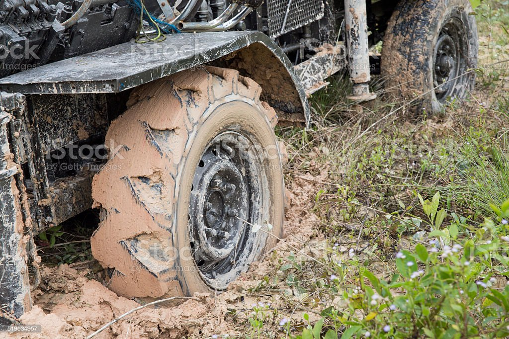 Car's wheels in mud in the forest stock photo