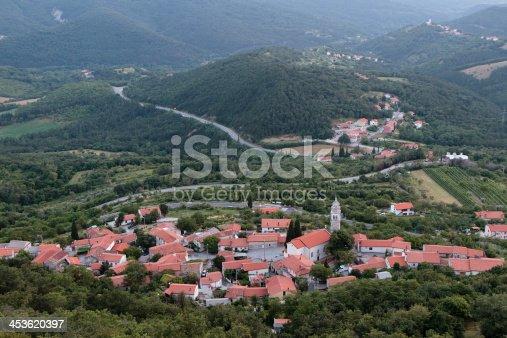 Small carsica village in Slovenia, Europe.