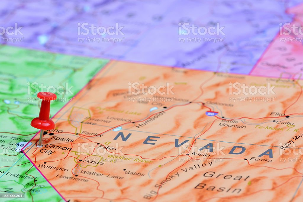 Carson City pinned on a map of USA stock photo