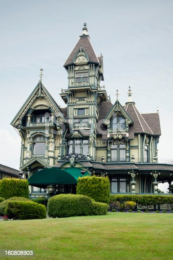 The Carson mansion, a large victorian house of American Queen Anne style architecture. Eureka, California.