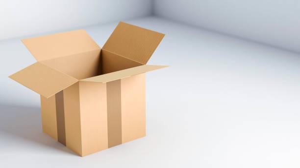 cart box delivery package opened, 3d illustration - puste pudełko zdjęcia i obrazy z banku zdjęć
