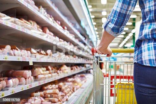 istock Cart buyer in supermarket 536919759