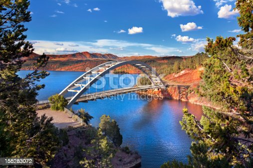 Cart Creek Bridge at Flaming Gorge National Recreation Area and the Flaming Gorge Reservoir within the Ashley National Forest.