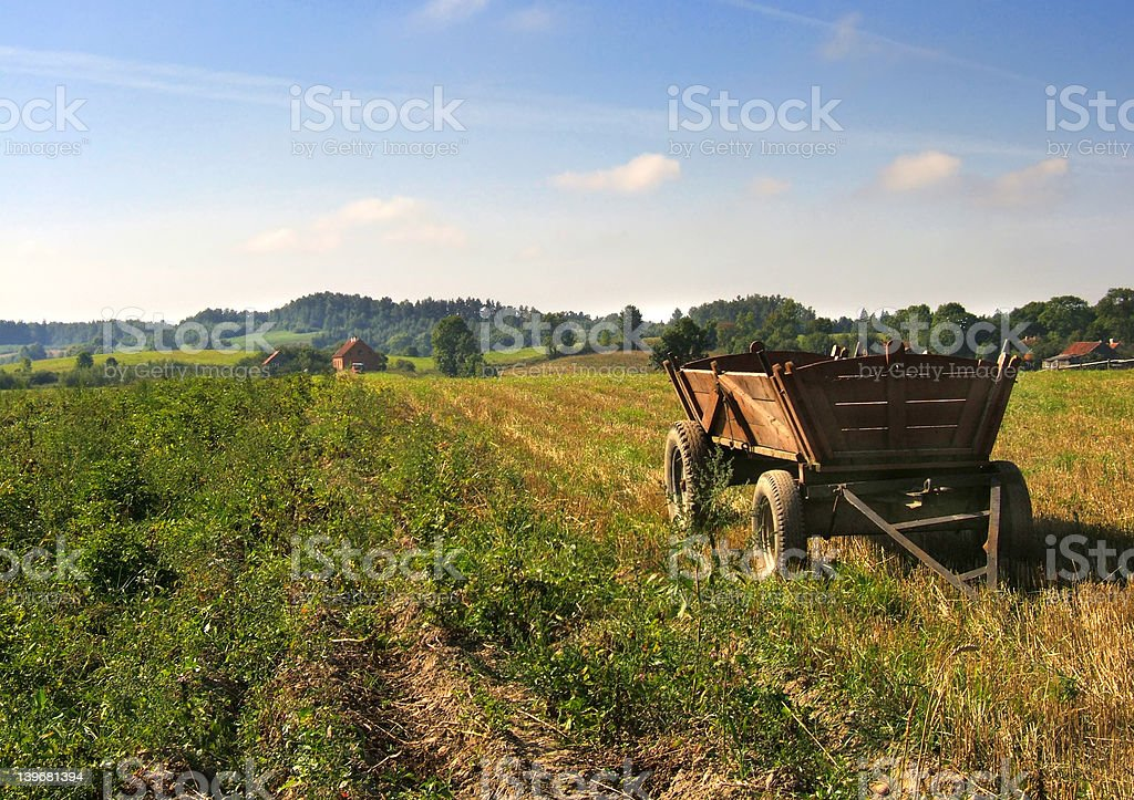 cart on field royalty-free stock photo