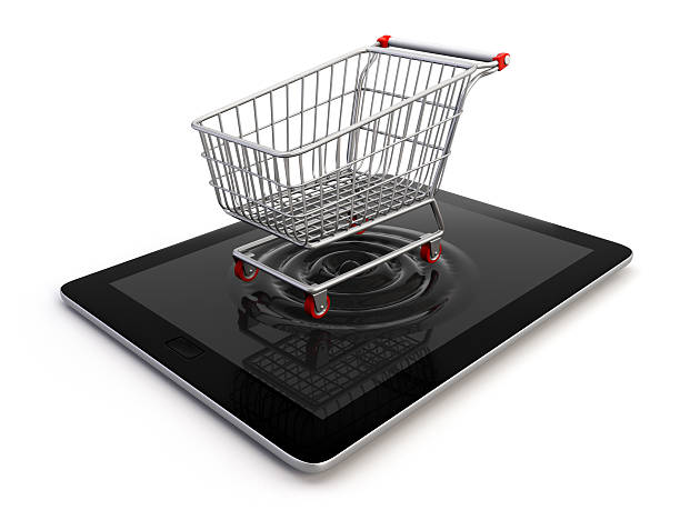Cart over tablet stock photo