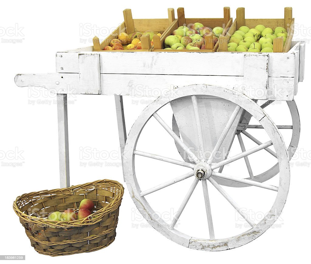Cart with apples stock photo