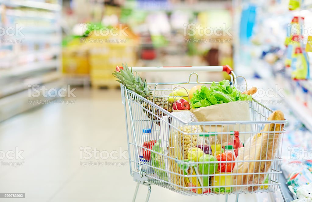 Cart with food stock photo