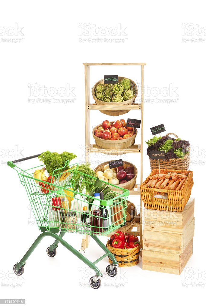 Cart with Grocery in Market Store on White Background royalty-free stock photo