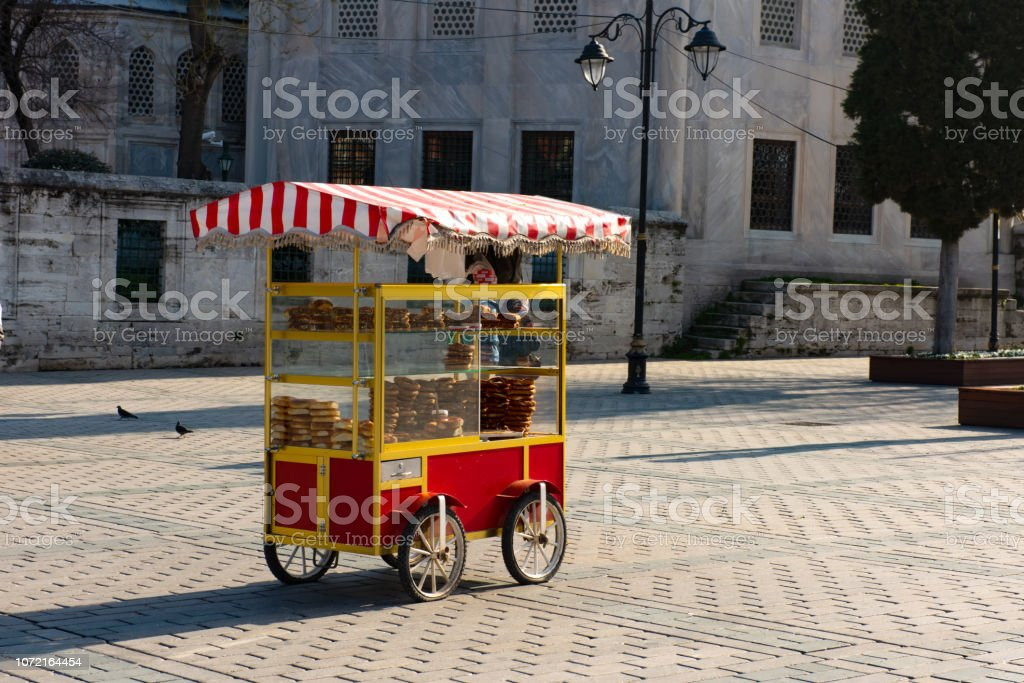 Cart with simits Turkish bagels in Istanbul stock photo