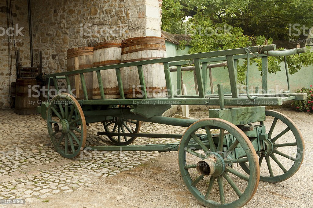 Cart with wine barrels stock photo