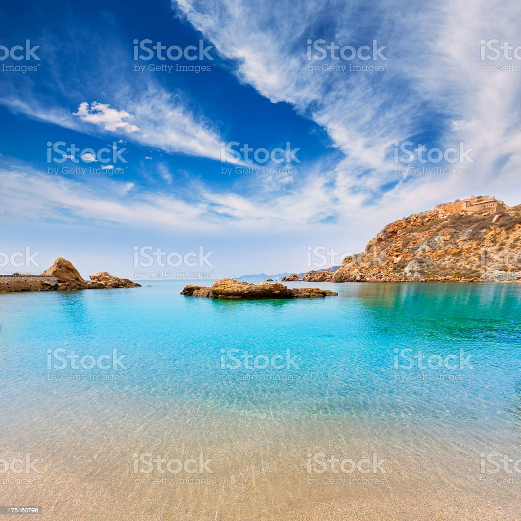 Cartagena Cala Cortina beach in Murcia Spain stock photo