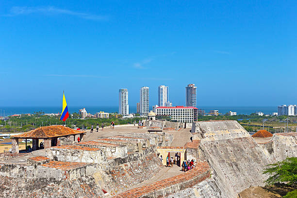 cartagena castle and city panorama - cartagena museum stock photos and pictures