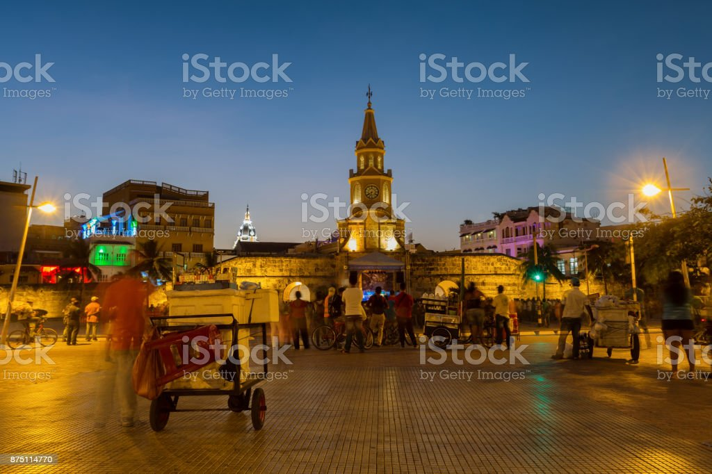 Cartagena clocktower during the blue hour stock photo