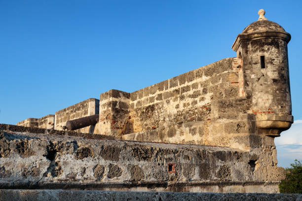 cartagena colonial wall - cartagena museum stock photos and pictures
