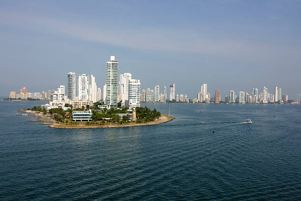 Cartagena, Columbia from the bay stock photo