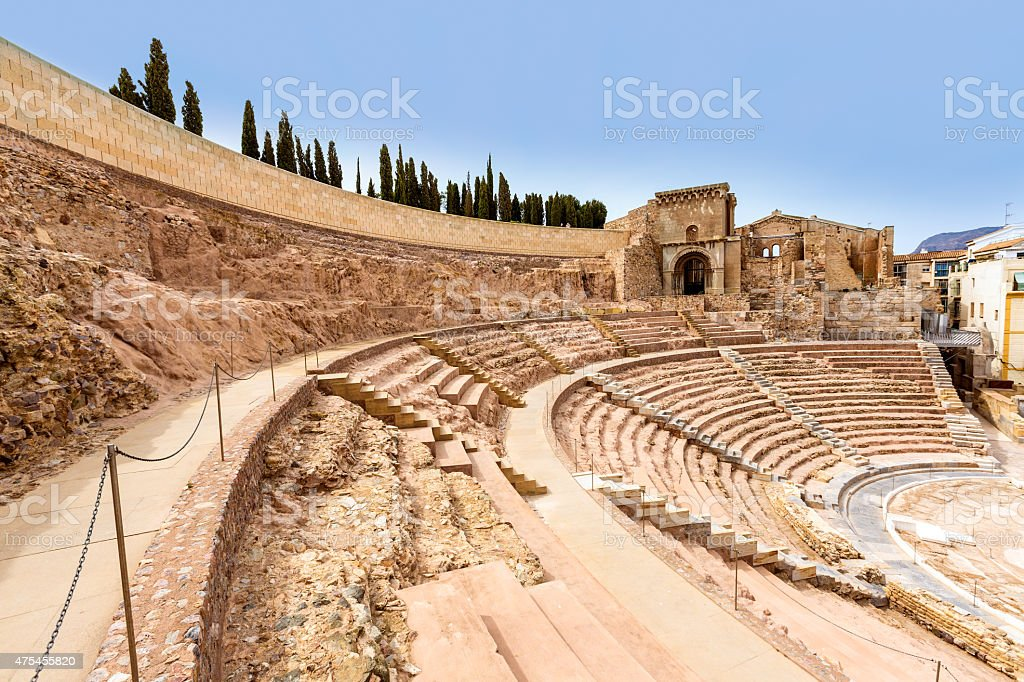 Cartagena Roman Amphitheater in Murcia Spain stock photo