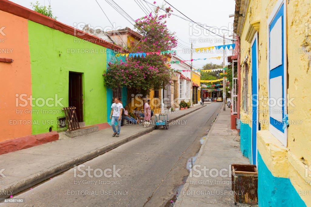 Cartagena street scene stock photo