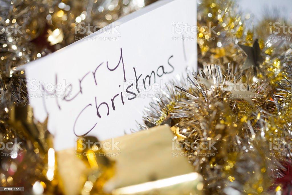 Carte De Noël En Anglais Dans Des Guirlandes Stock Photo