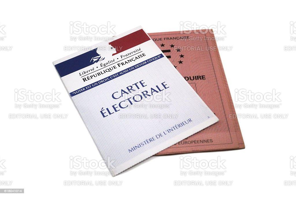 Carte électorale et Permis de conduire stock photo