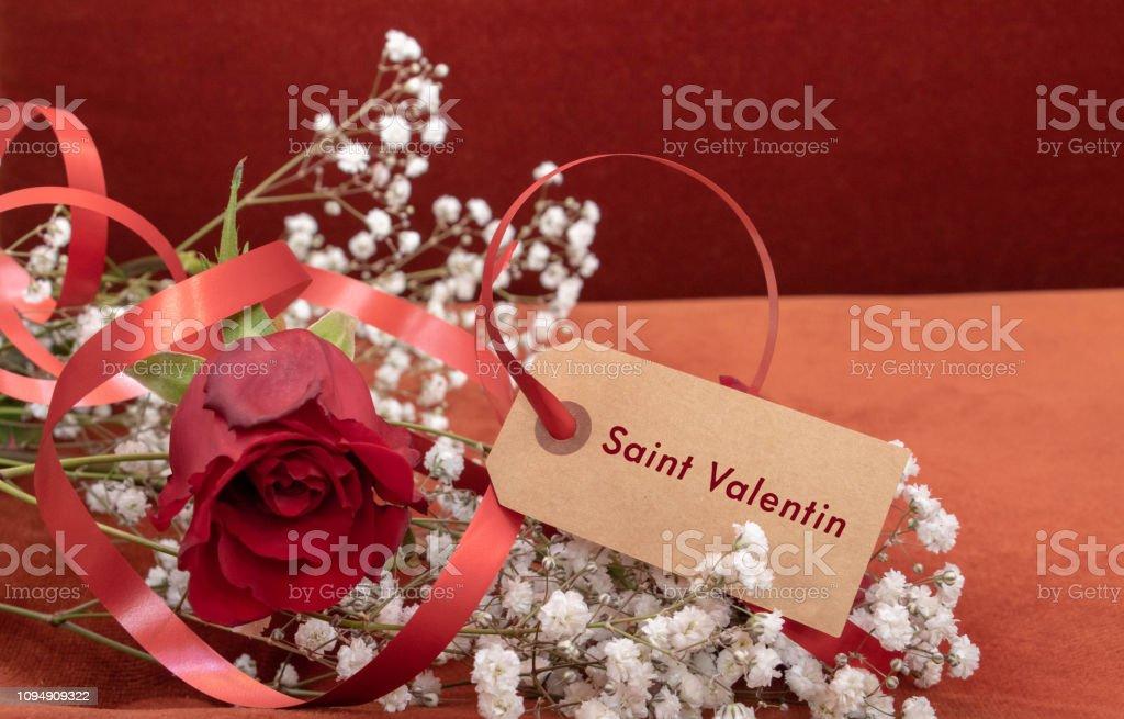 Carta San Valentin Et Une Rose Amour De Rouge Pour Lui Dire