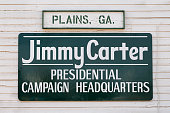 Plains, Georgia, USA - November 12, 2016: Carter Presidential Campaign Headquaters sign on the Plains Train Depot in Plains