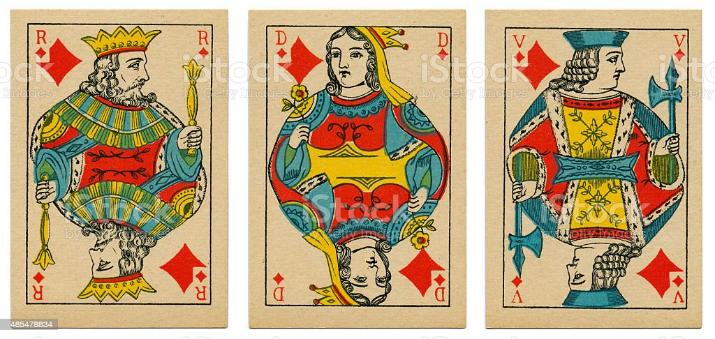 Court cards diamonds Belgian playing cards cartes marbrees stock photo