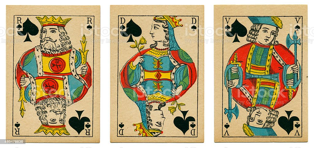 Court cards spades Belgian playing cards cartes marbrees stock photo