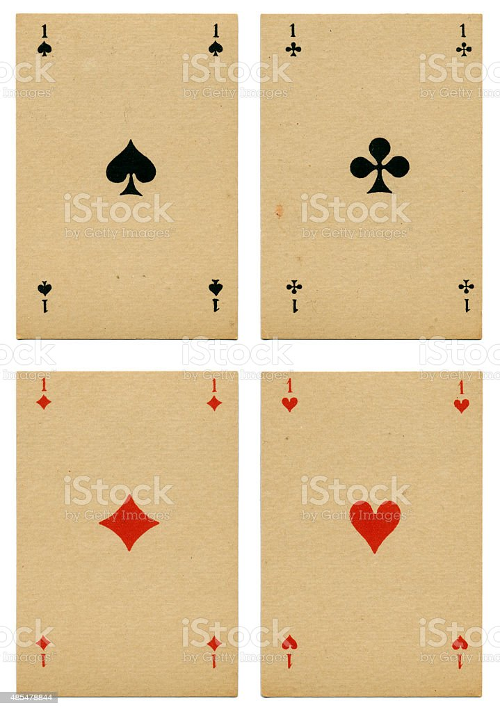 Four aces Belgian playing cards cartes marbrees stock photo