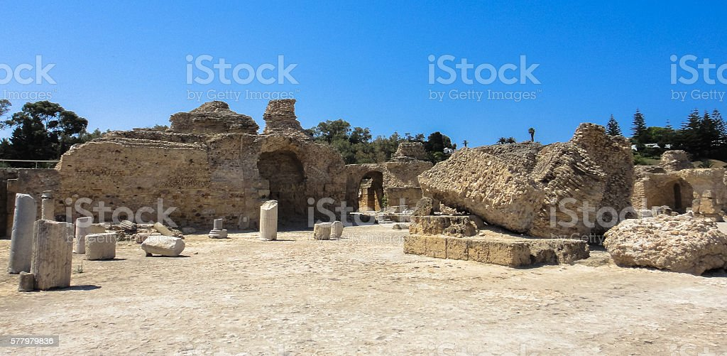 Carthage ancient city ruins in Tunisia. North Africa stock photo