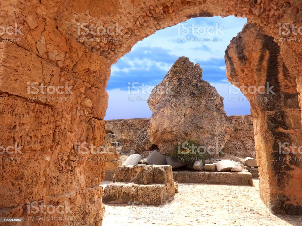 Carthago (Carthage). Old Carthage ruins in Tunisia. Ruins of capital city of the ancient Carthaginian civilization. UNESCO World Heritage Site. stock photo