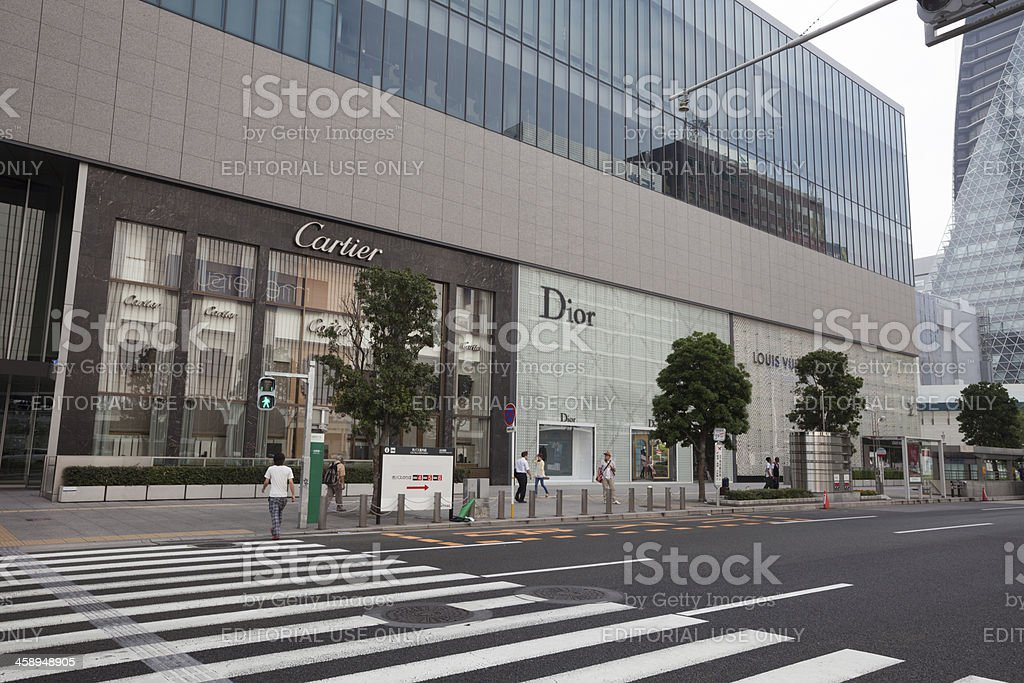 Cartier, Dior and Louis Vuitton Stores in Japan royalty-free stock photo