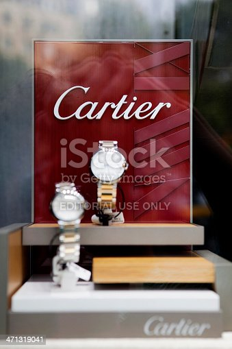 Barcelona, Spain - July 21st, 2011: Cartier watches on the window of Cartier shop located in the famous Paseo de Gracia street in Barcelona.