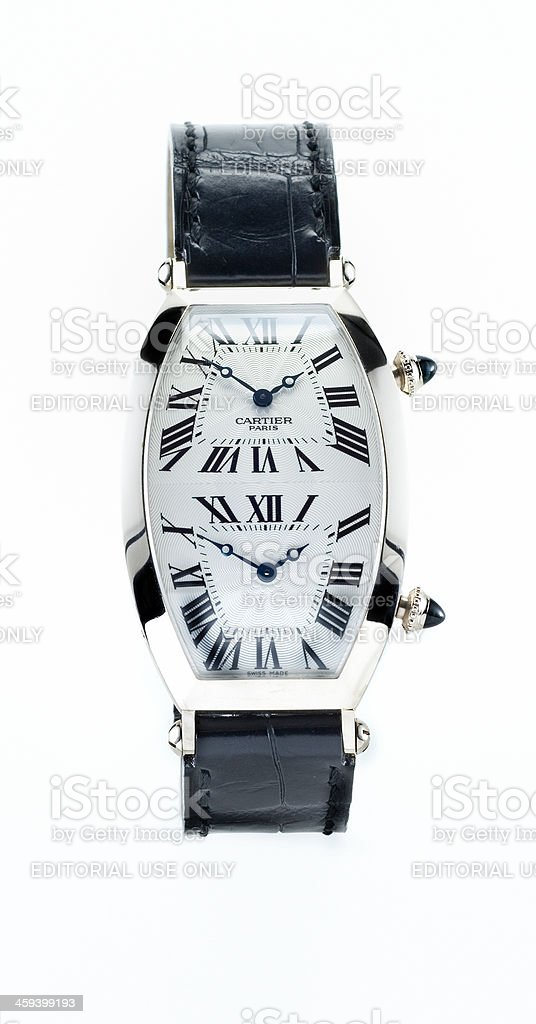 Cartier Tonneau XL two time zones Collection Privee wristwatch stock photo