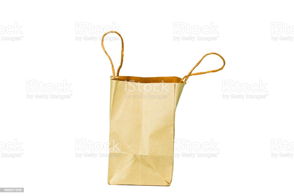 Carton bag on the white background. Clipping path inside. stock photo