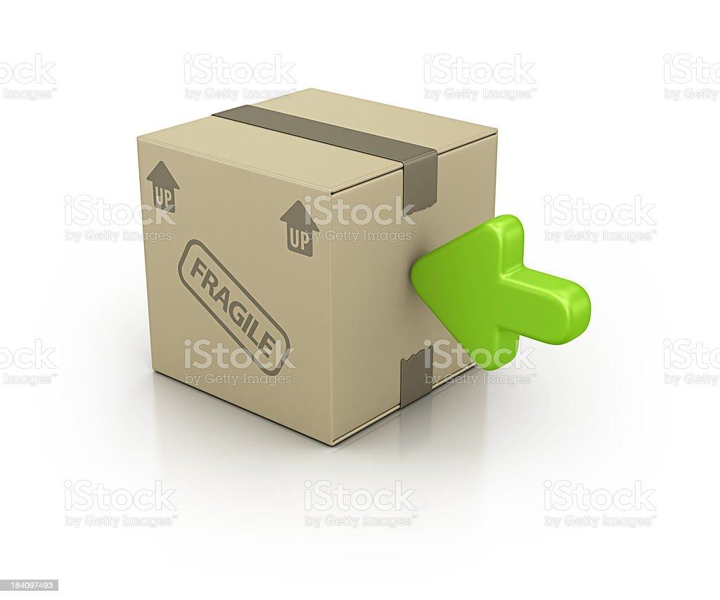 carton box and green arrow royalty-free stock photo