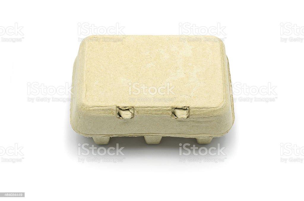 Carton box for eggs isolated on white. stock photo