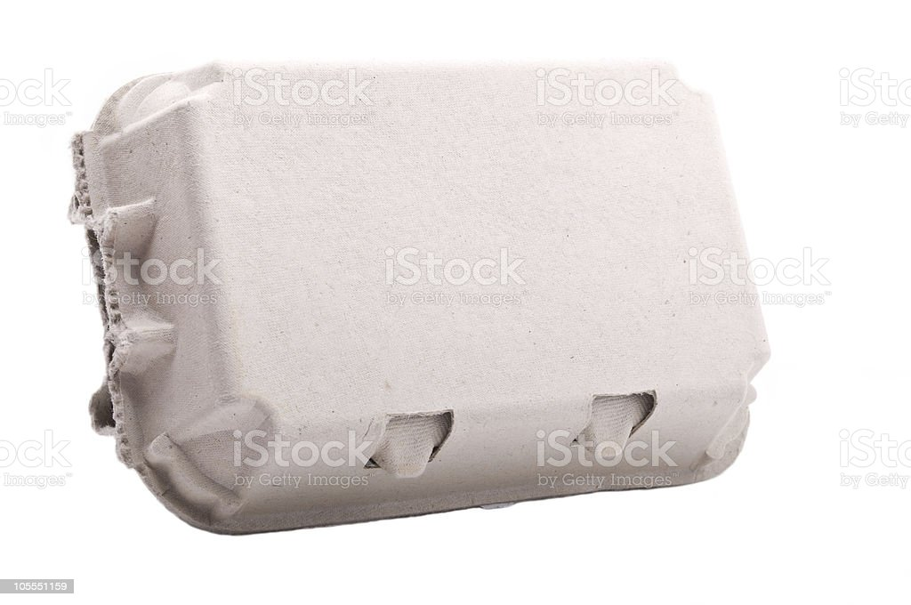 Carton box for eggs isolated on white. Six pack. stock photo