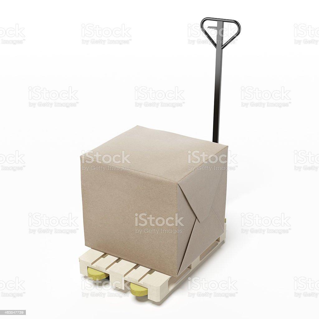Caja de cartón en una paleta - foto de stock