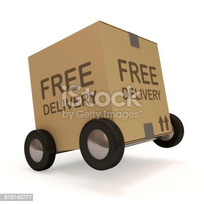510998733istockphoto Carton Box on Wheels isolated on white background 513140777