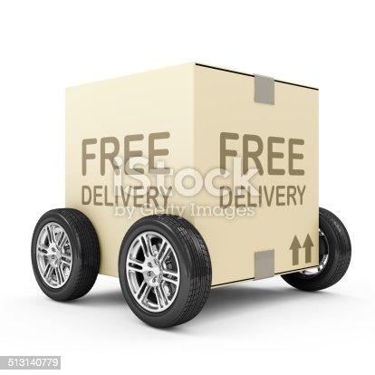 510998733istockphoto Carton Box on Wheels isolated on white background 513140779
