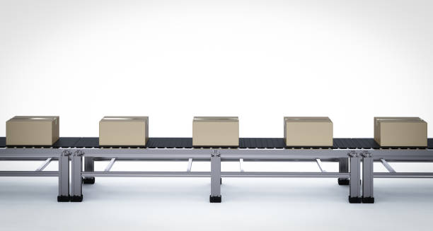 carton boxes on conveyor belts - conveyor belt stock photos and pictures