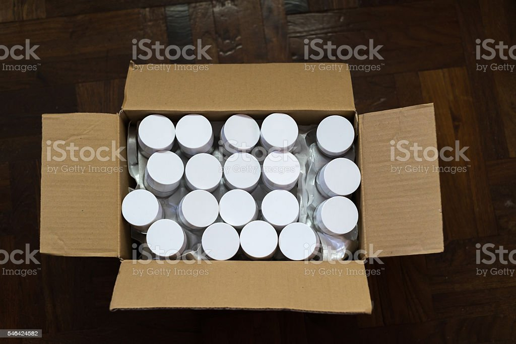 Carton of cosmetic products stock photo