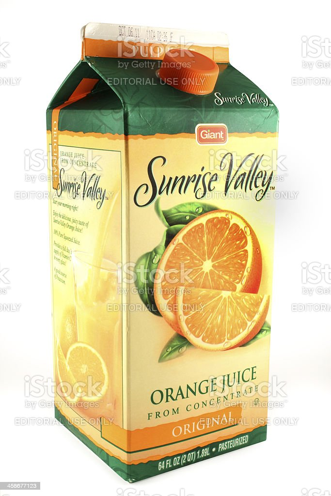 Carton of Orange Juice From Concentrate | Giant Sunrise Valley royalty-free stock photo