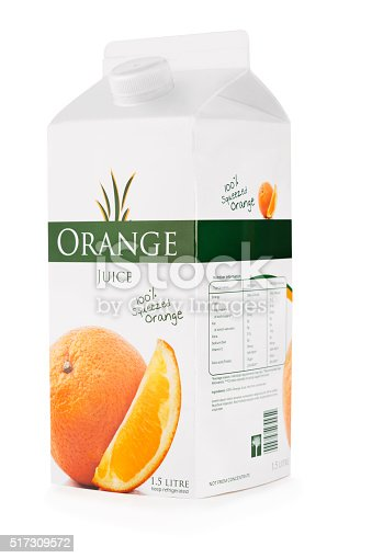Carton of orange juice isolated on white  with clipping path (excluding the shadow).